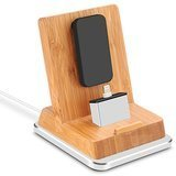 Rerii Bamboo iPhone Charge Stand with Aluminum Base