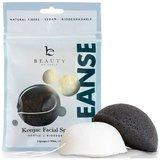 Beauty by Earth 2-pack Konjac Facial Sponge - Natural Bamboo Charcoal