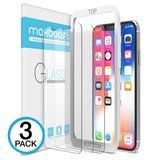 Maxboost iPhone X Screen Protector, 3 Pack