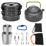 Odoland 10pcs Camping Cookware Mess Kit