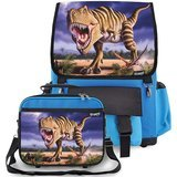 Kidaroo Striped T-Rex Dinosaur School Backpack & Lunchbox
