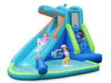 BOUNTECH Inflatable Hippo-Themed Water Slide and Bounce House