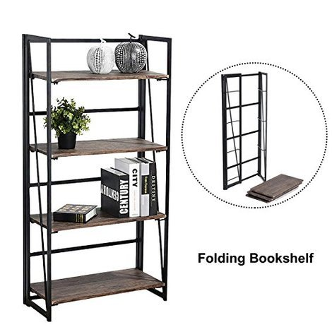 4 tier folding bookcase - Folding Bookshelves