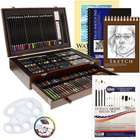 ART 101 128-Piece All Media Wooden Artist Art Set Craft Pencils Sketch Brushes